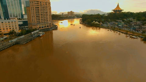 Sarawak River at sunset, gradually go up while dolly in Footage