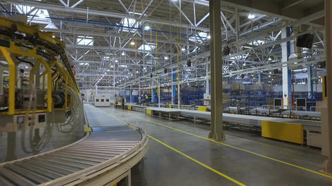 Huge Spacious Factory with Metal Structures at Top Footage