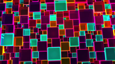 Neon Colorful Lights Cubes Background In 4k Animation