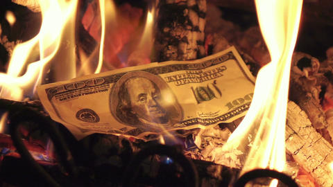 Two videos of burning money in real slow motion ビデオ