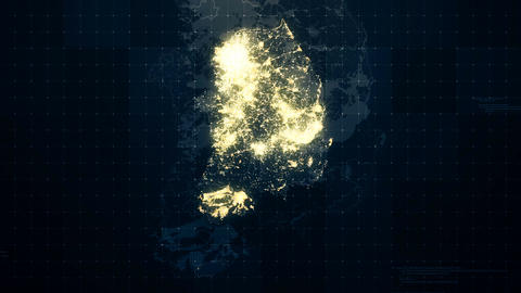 South Korea Map Night Lighting Rollback Animation