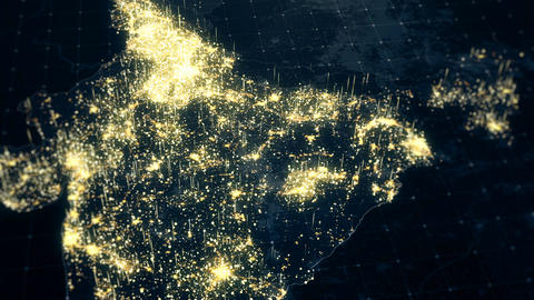 India Map Night Lighting Close View Animation