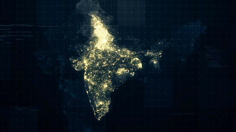 India Map Night Lighting Rollback Animation