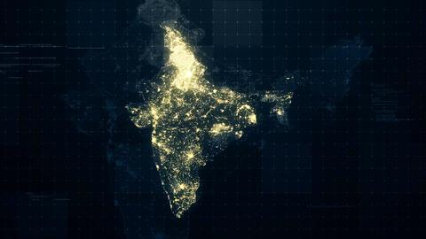 India Map Night Lighting Rollback CG動画素材