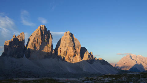 Sunrise over the Mountains Tre Cime di Lavaredo. Time Lapse Footage