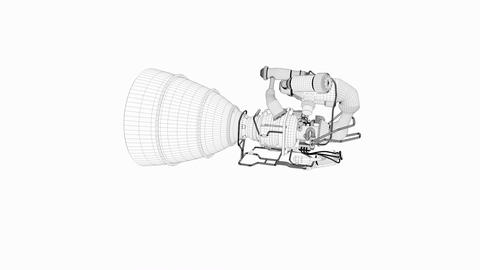 Artist concept rendering rocket engine model, 3d wire frame Animation