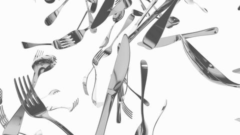 Eatery utensils, kitchen tools, spoon, knife and fork Animation