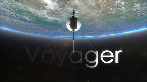 Voyager spacecraft with text overlay Animation