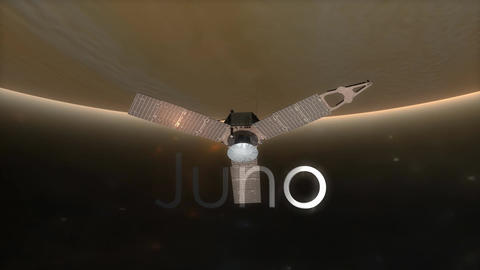 Juno spacecraft with text overlay Animation