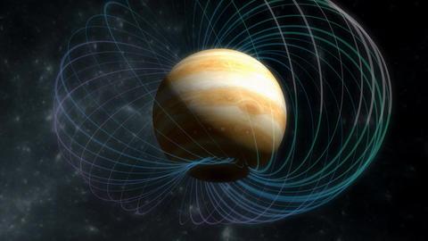 Artist rendering, Jupiter magnetic field Animation