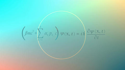 Mathematical equation background, Dirac equation Animation