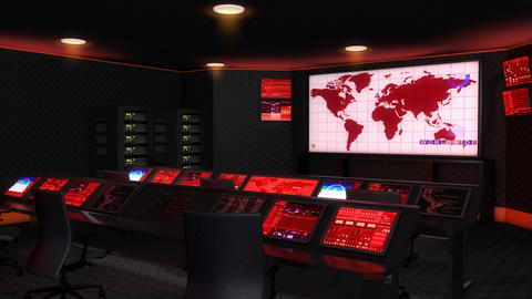 Operation control room, Command center, red lights Animation