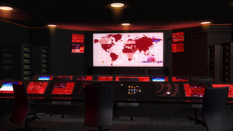 Operation control room, Command center, red lights, Stock Animation