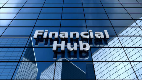 Financial hub building, cloud time lapse Animation