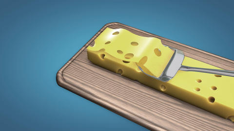 Cheese slicer slow motion Animation