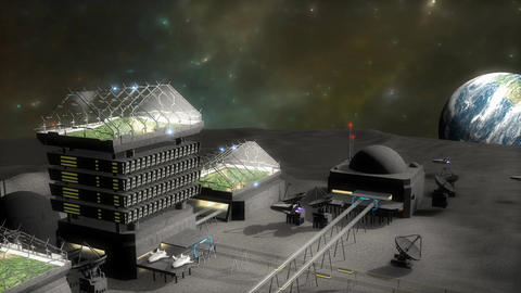 Artist concept, moon base Animation