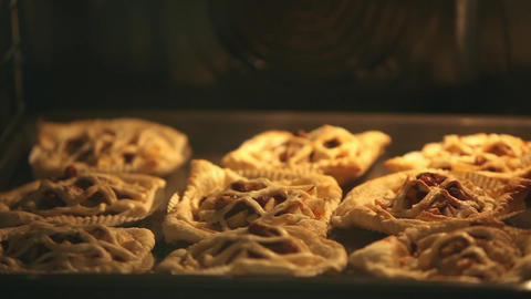 Puff Pastry Pies In oven baking tray Footage