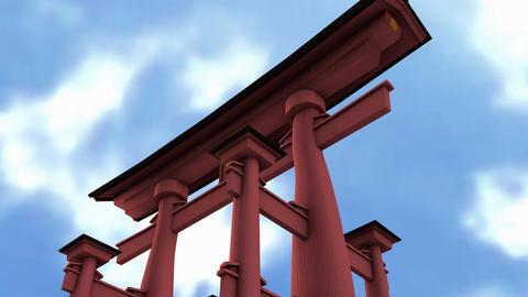 Japanese torii gate blue sky time-lapse Animation