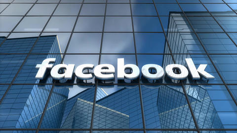 Editorial, Facebook logo on glass building Animation
