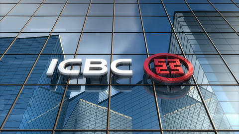 Editorial, ICBC logo on glass building Animation