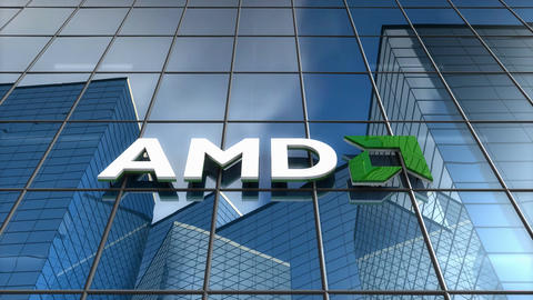 Editorial, AMD logo on glass building Animation