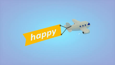 Flying plane with flag, Happy Animation
