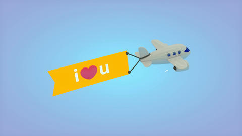 Flying plane with flag, I love you Animation
