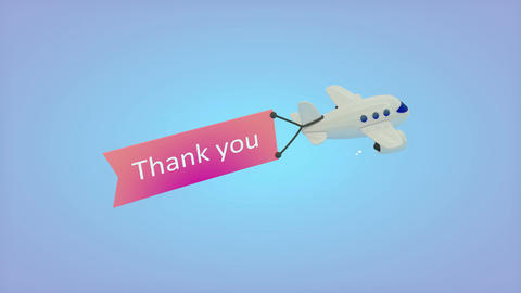 Airplane on blue background with text on flag, Thank you Animation