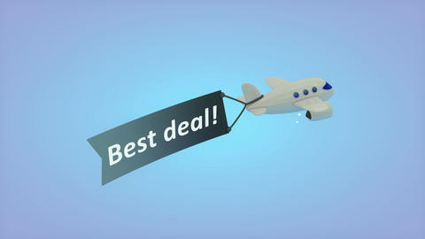 Airplane on blue background with text on flag, Best deal Animation