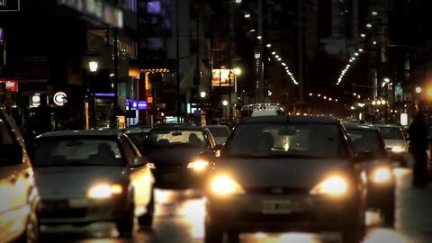 Traffic In The Rainy Night Of Buenos Aires Footage