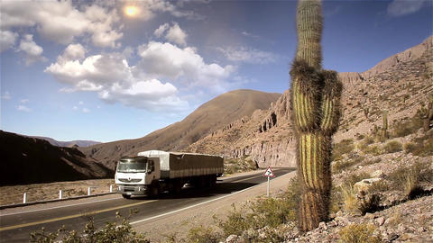 Truck On The Desert Route Footage