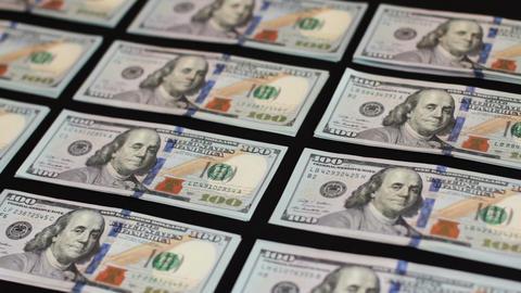 A Hundred Dollar Bill On Black Background 1 Footage