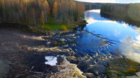 Aerial footage of flying over an autumn forest and river