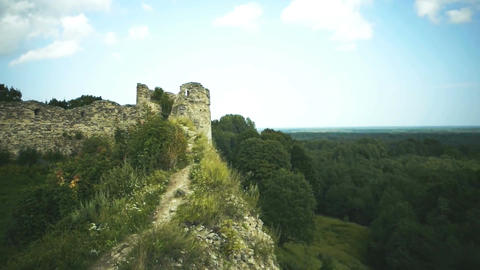 Ruins of a medieval fortress. Panoramic view Footage