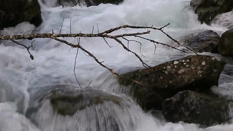 A large water flow on the river Footage