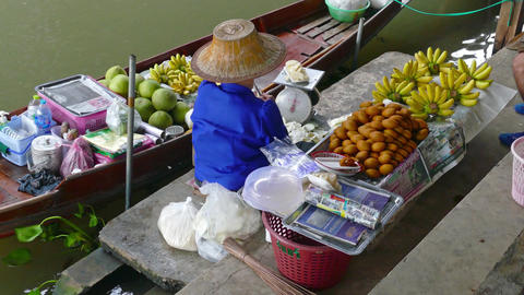 Boat with fruits on floating market in Thailand Footage