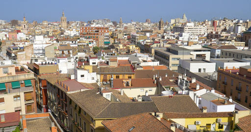 Aerial Panoramic View Of Valencia City In Spain Live Action