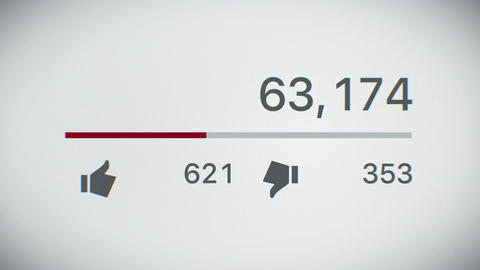 Close-up of a Video Counter Increasing to 1 Billion Views. 3d Animation. Front v Animation