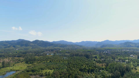 Top view of the landscape near the sea. Khao Lak. Thailand. Aerial Footage