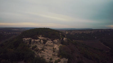Epic Aerial view of Eski-Kermen. The ruins of the ancient city Mangup Kale. Clou Footage