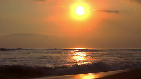 Tropical sea and sunset sky in windy evening. Beautiful seascape with sundown Footage