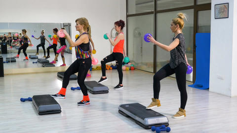 Group of women doing fitness at the gym Footage