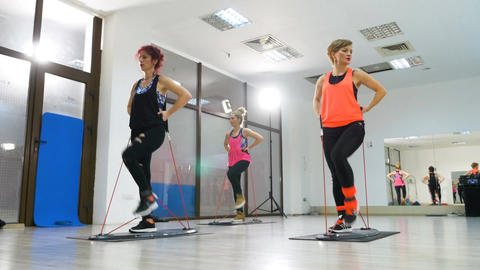 Active women doing fitness session for legs Footage