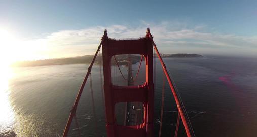 Golden Gate Bridge. Aerial shot of the Golden Gate Bridge in San Francisco on a Footage