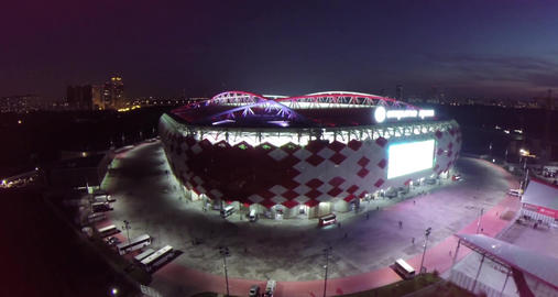 Aerial view of football game at Otkritie Arena Stadium at night. Moscow, Russia Footage