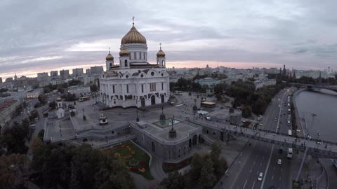 Aerial shot of grand building of Cathedral of Christ the Saviour. Famous Orthodo Footage