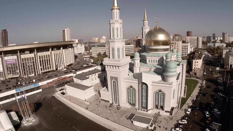 Moscow Cathedral Mosque. New religion construction in Russia. Largest in Europe Live Action