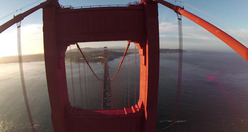 Aerial shot of the Golden Gate Bridge in San Francisco on a clear, sunny day Footage