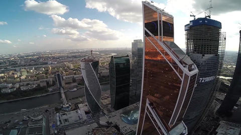 Mercury City Tower. Moscow city. Modern architecture buildings. Moscow Downtown Footage
