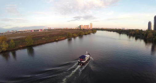 Aerial shots of pleasure boat on the Moskva River at Strogino district of Moscow Footage